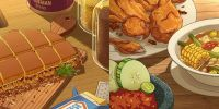 17 Ilustrasi makanan khas Indonesia versi anime karya Alfeus Christie