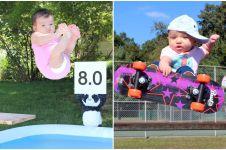 14 Foto bayi yang lagi asyik olahraga ini gemesin maksimal