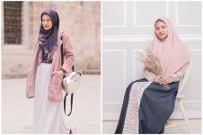 7 Inspirasi OOTD warna pastel selebgram Adinda Amira, modis dan syar'i