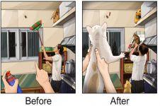 Begini 13 ilustrasi kehidupan sebelum & sesudah punya hewan peliharaan
