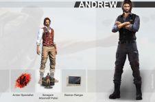 Profil dan kemampuan Andrew, seorang petugas polisi di game Free Fire