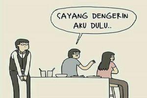 Komik strip ini gambarkan kondisi kalau cewek udah marah, serem