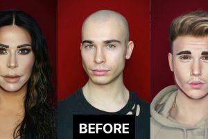 20 Potret kekuatan makeup, pria ini sukses duplikasi wajah seleb