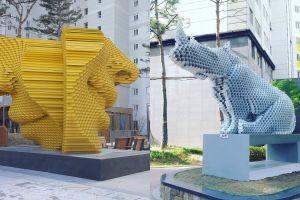 Seniman ini bikin 7 patung yang dibuat dari tumpukan pipa, imajinatif!