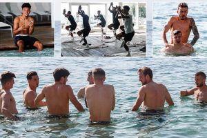 Pemain Inggris berenang di Laut Adriatik setelah Liga Bangsa Eropa