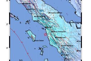 Gempa bumi kekuatan 5,8 SR mengguncang Kota Padang Sidempuan