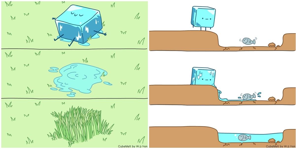 31 Ilustrasi cara hidup seperti es batu ini singkat tapi menyentuh