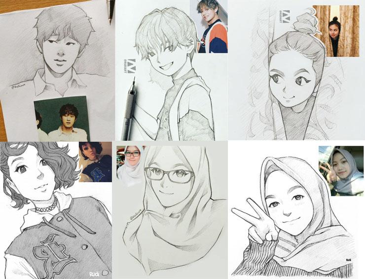 14 Sketsa Wajah Ini Dibuat Oleh Seniman Indonesia Bak Tokoh Anim
