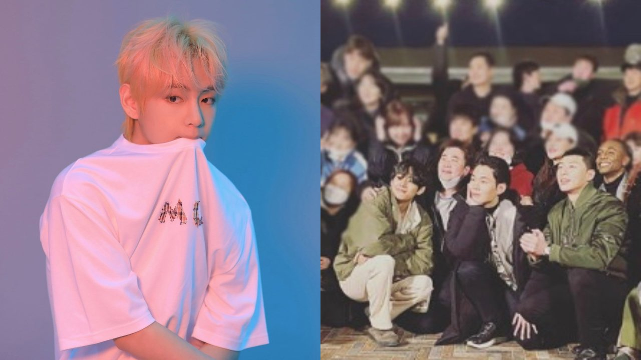 V BTS terlihat foto bersama dengan para kru drama Itaewon Class