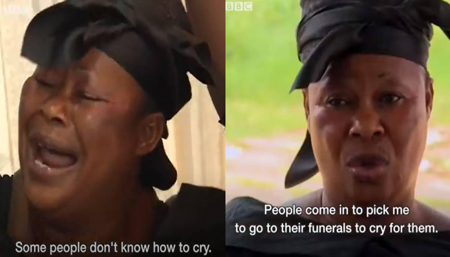 Pelayat bayaran di upacara pemakaman Ghana, diupah untuk menangis