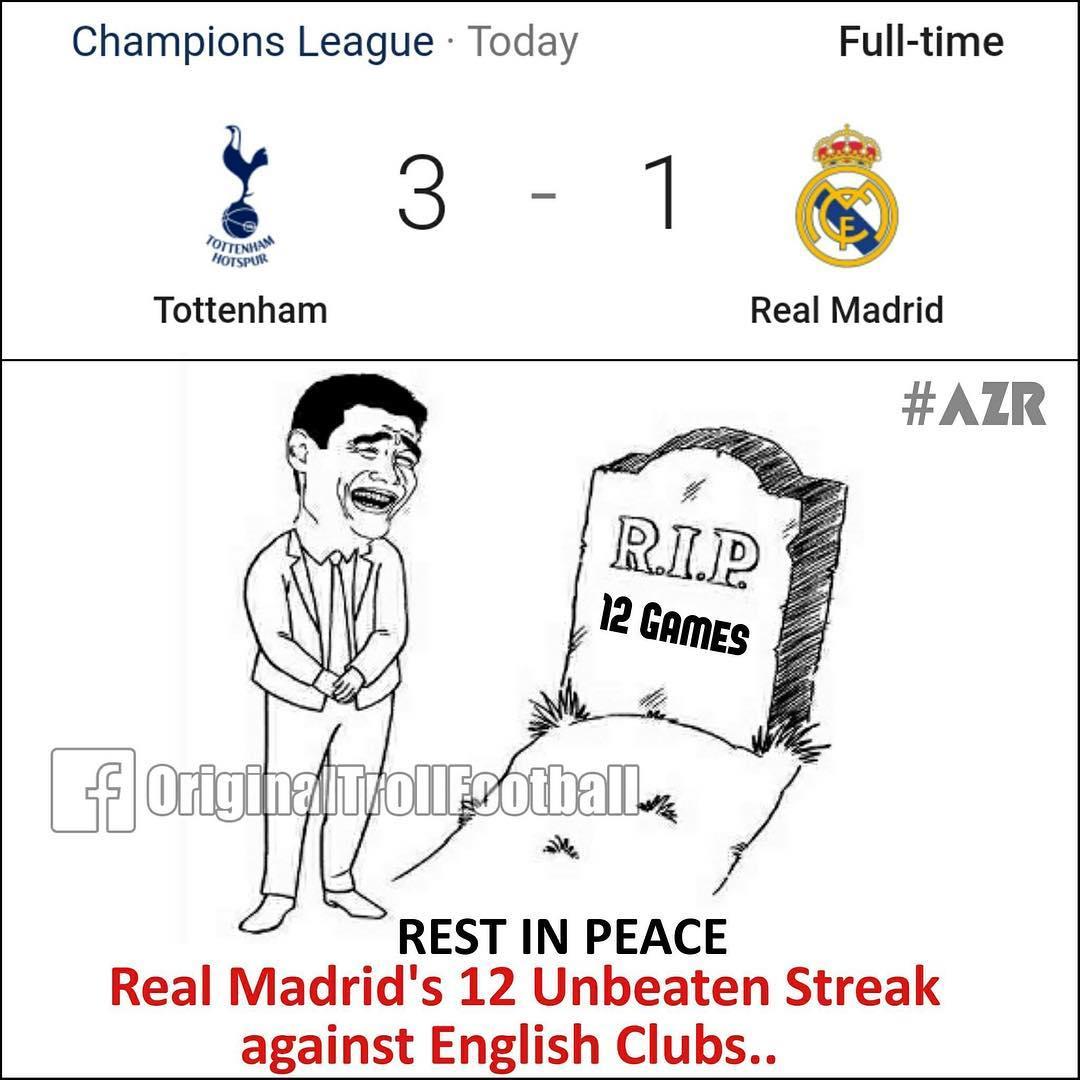 10 Meme kocak pasca kekalahan Real Madrid dari Tottenham, mewek deh