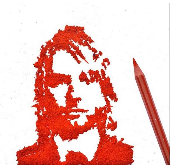 Tak disangka, 10 karya seni ini dibuat dari ampas rautan pensil warna
