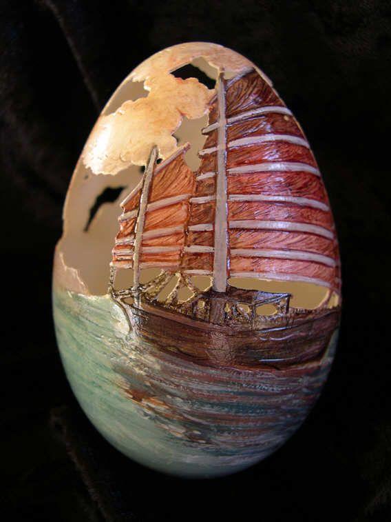 10 Karya Seni Ukir Cangkang Telur Ini Keren Abis!