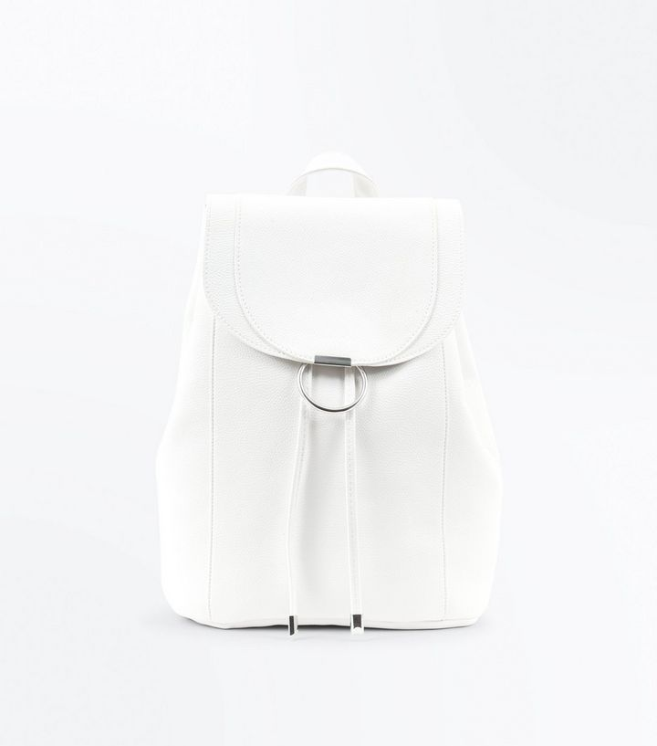 White Ring Front Backpack by New Look