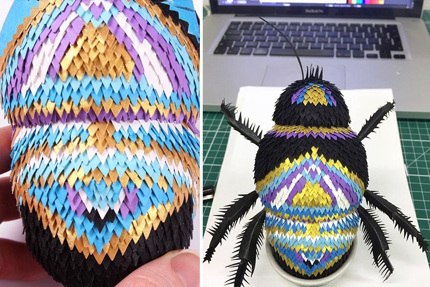 Karya 3D ini dibuat dari ratusan potongan kecil kertas, keren abis!