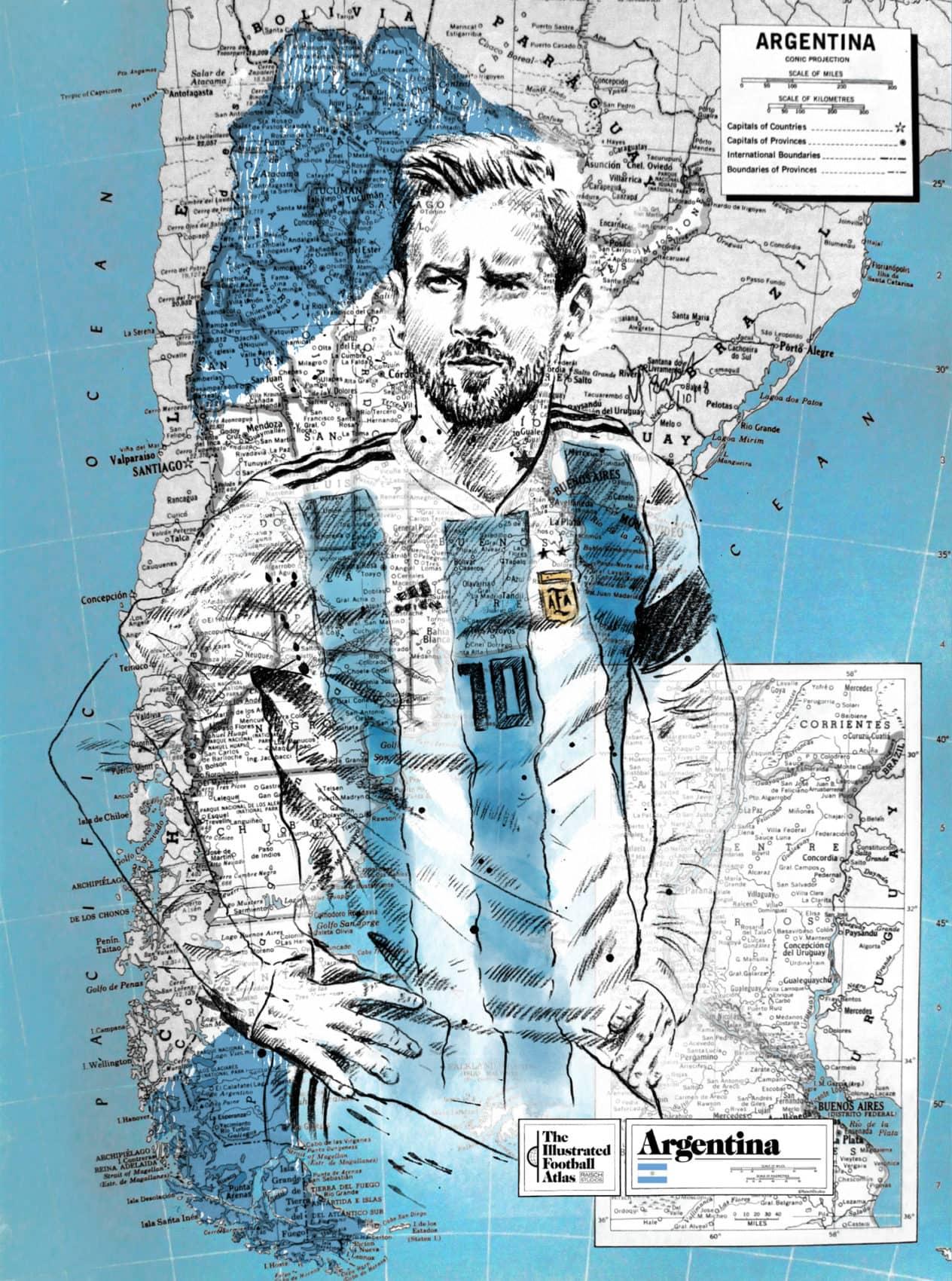12 Sketsa Pesepak Bola Dunia Ini Dilukis Di Atas Peta Negaranya