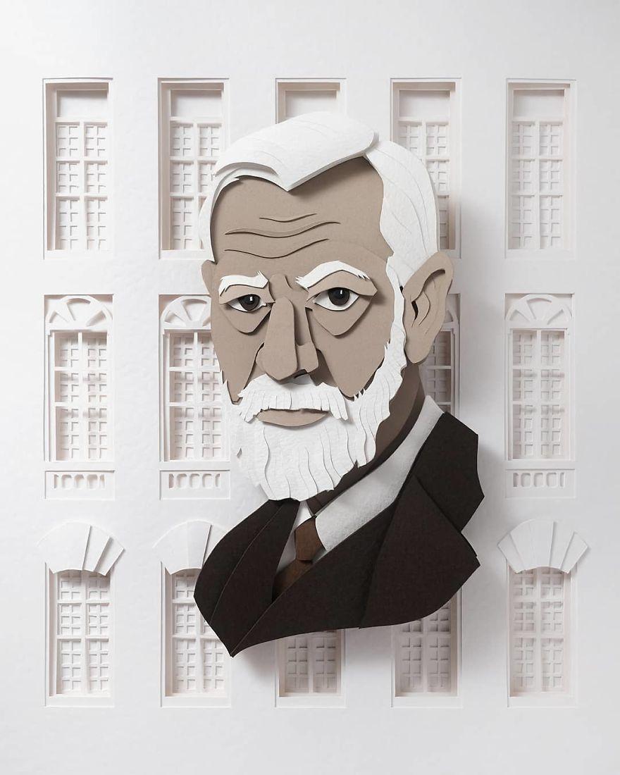 26 Gambar orang terkenal ini dibuat hanya dengan gunting dan kertas