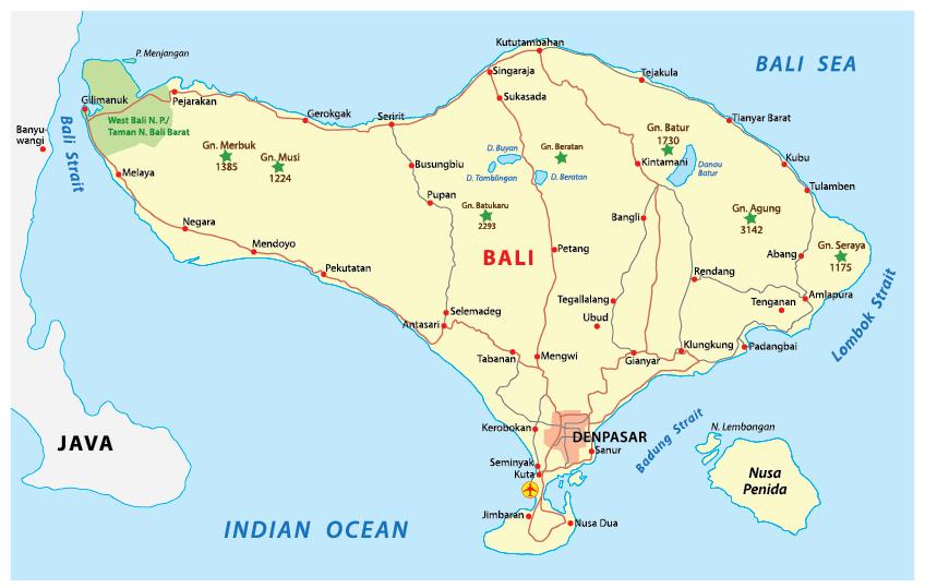 Gambar 2. Persebaran harimau bali di wilayah Bali Barat
