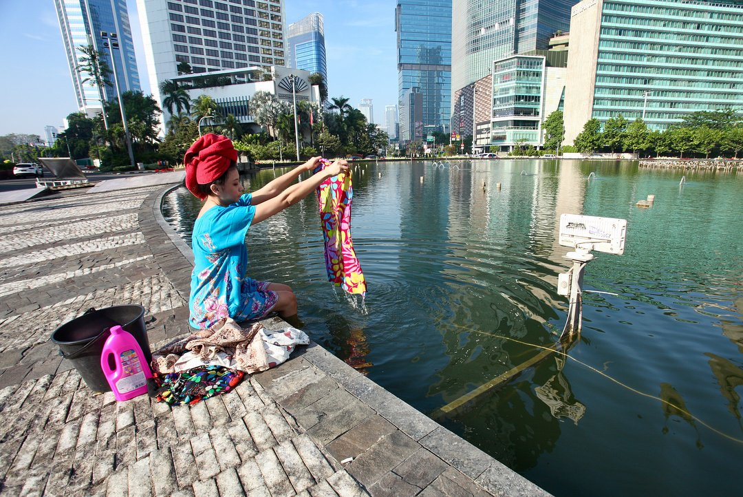 Begini 10 potret kreatif Jakarta ketika sepi ditinggal mudik warganya