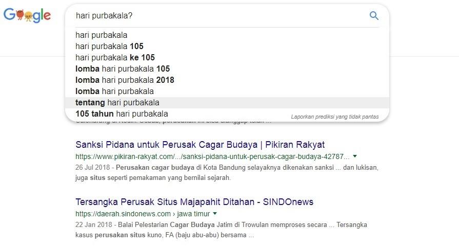 Hari Purbakala? (Melalui mesin pencari www.google.co.id)
