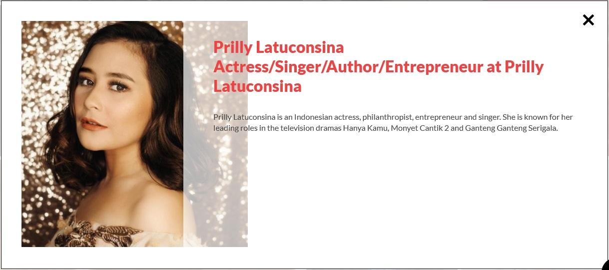 Prilly Latuconsina as speaker at RISE Conference Hongkong 2019 (https://riseconf.com/featured-attendees)