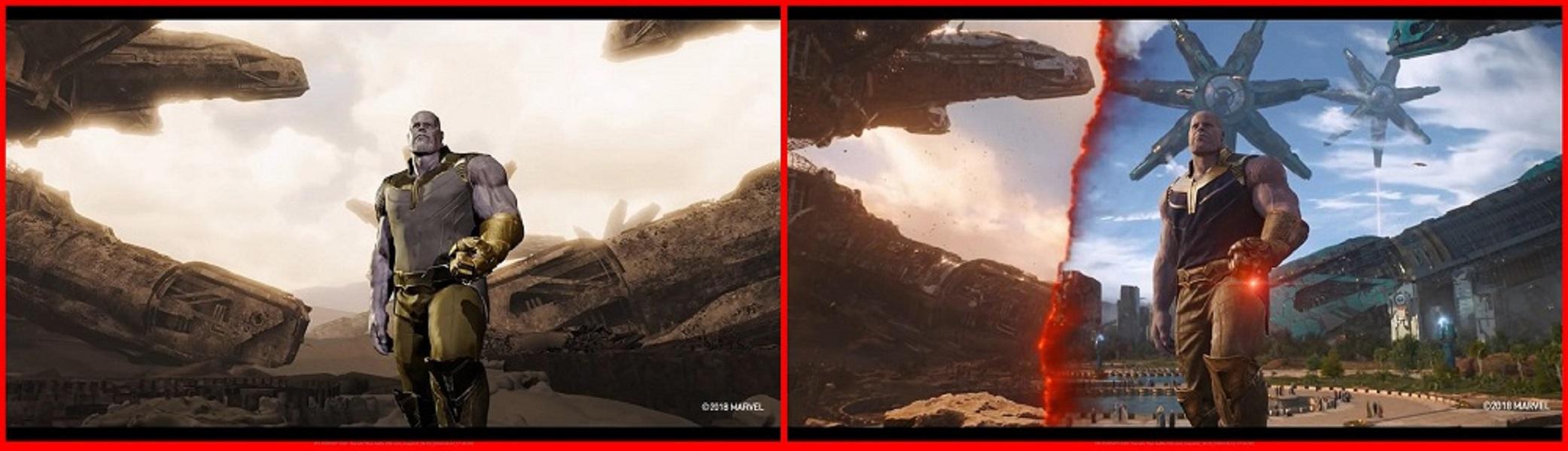 Film Avengers: Infinity War sebelum dan sesudah dipoles dengan CGI