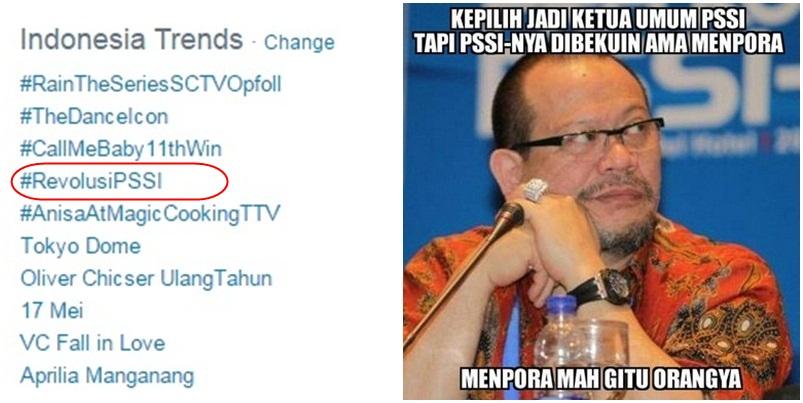 Trending topic berkali-kali, netizen belum bosan bicara pembekuan PSSI