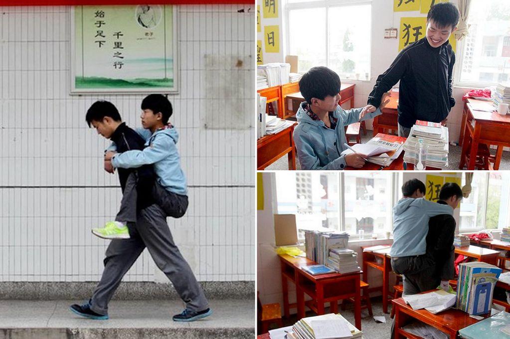 Pelajar ini 3 tahun menggendong temannya yang cacat ke sekolah, salut!