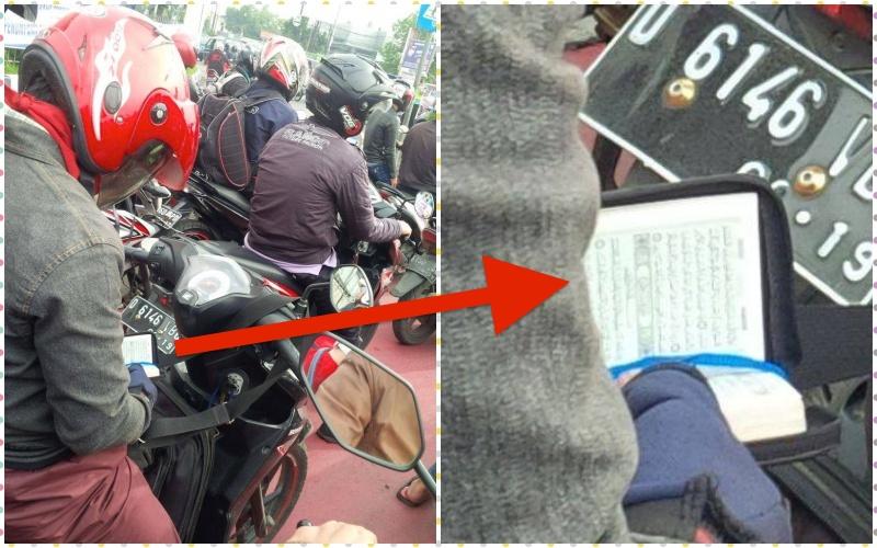 Pria ini baca Al Quran saat lampu lalu lintas menyala merah