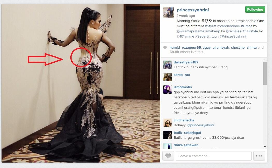 Foto Syahrini di Instagram jadi obrolan, dituding edit pinggang