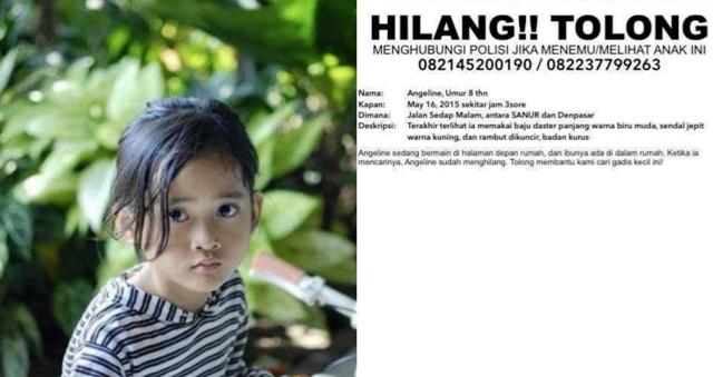 Bocah Angeline hilang sejak 16 Mei ditemukan tewas dekat kandang ayam