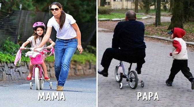 15 Foto perbandingan Ayah dan Ibu ketika mengurus anak, lucu banget!