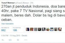 Cuitan Yusuf Mansur 'Dolar turun dengan doa' viral di media sosial