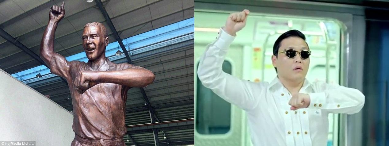 Patung legenda sepak bola Inggris ini seperti sedang ber-gangnam style