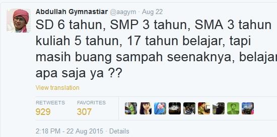 Tweet Aa Gym mengundang pujian netizen, kenapa?