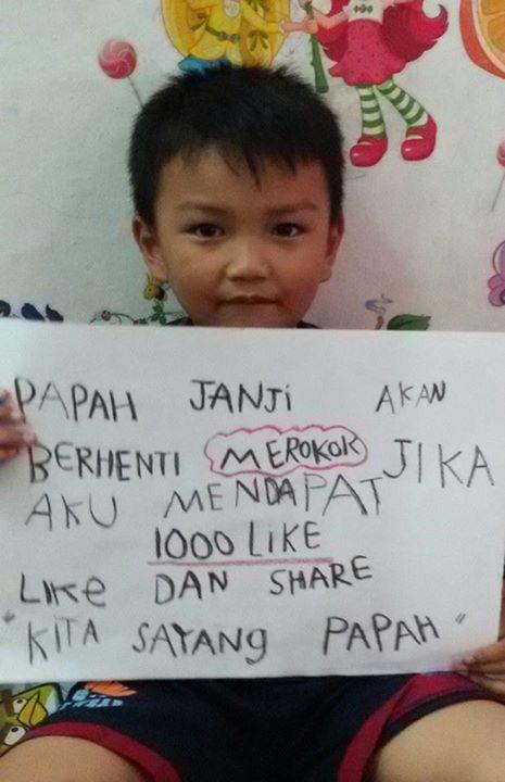 Anak kecil kumpulkan 1.000 Like agar ayahnya berhenti merokok