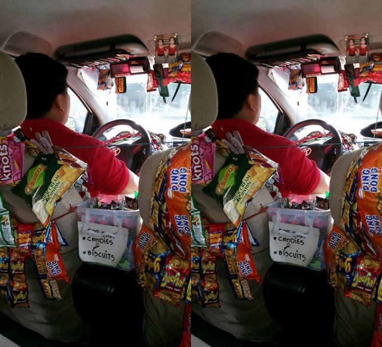 Sopir taksi jualan snack dalam taksinya demi uang sekolah anak