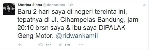 Dipalak geng motor di Bandung, Sherina ngadu ke Ridwan Kamil