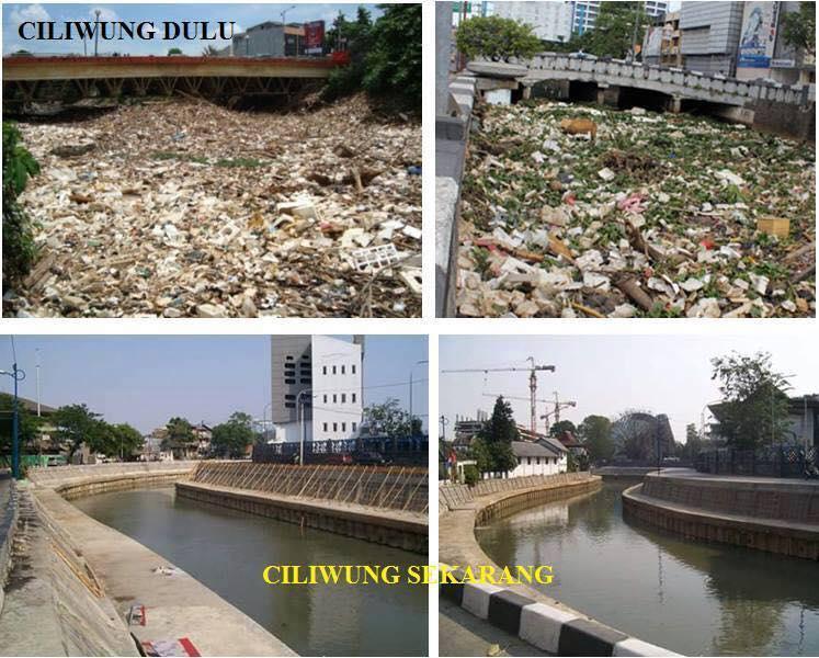 Foto-foto perbedaan sungai Ciliwung sebelum dan sesudah relokasi