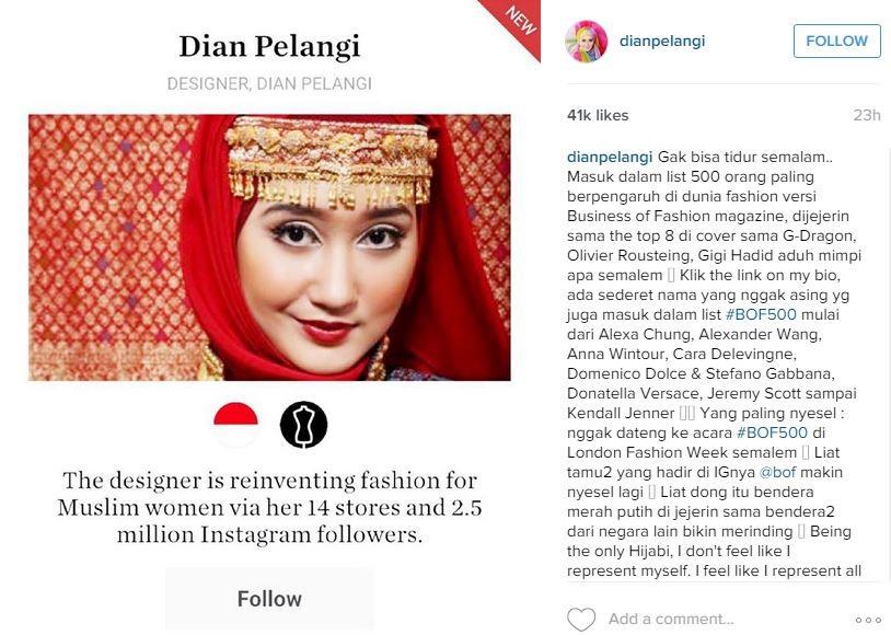 Dian Pelangi masuk 500 orang paling berpengaruh di dunia fashion