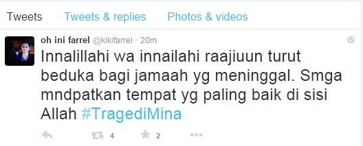Ini kicauan sekaligus doa publik figur tentang tragedi Mina
