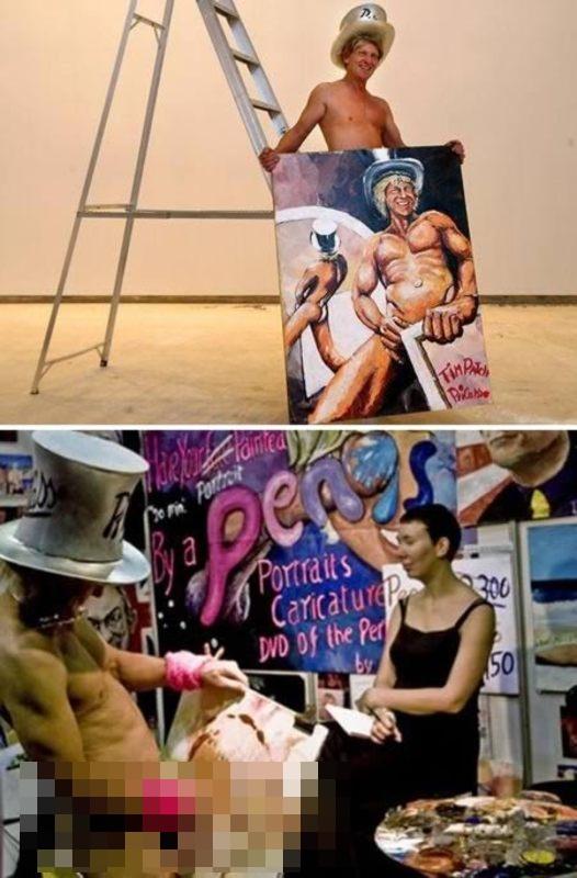 Cara aneh melukis, ada yang pakai penis & payudara