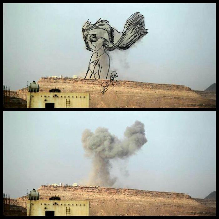 Seniman Yaman ubah pemandangan ledakan menjadi gambar penuh makna