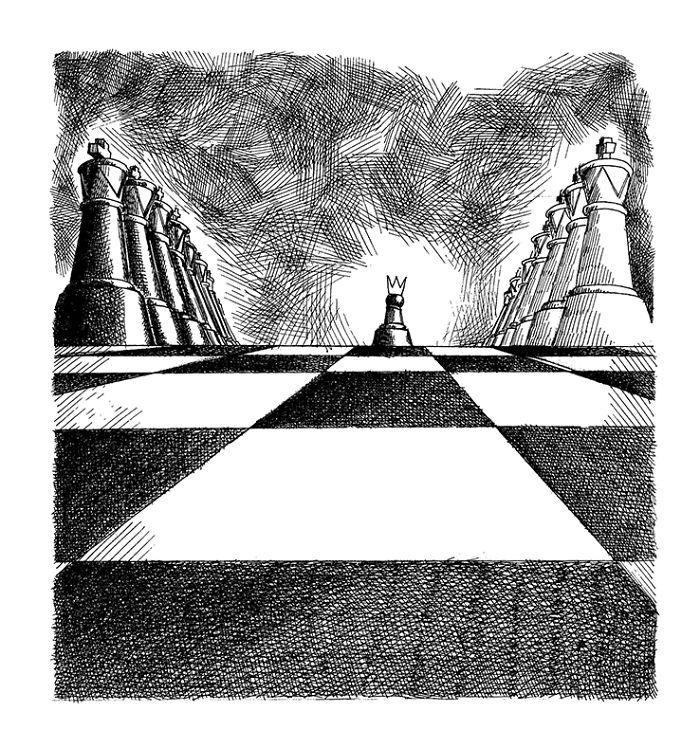 Seniman ini bawa misi perdamaian lewat karikatur bidak-bidak catur