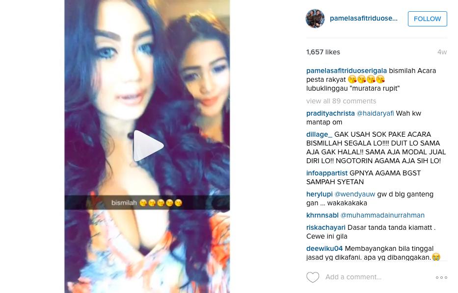 Netizen murka, Pamela Safitri 'letakkan' tulisan bismillah di payudara