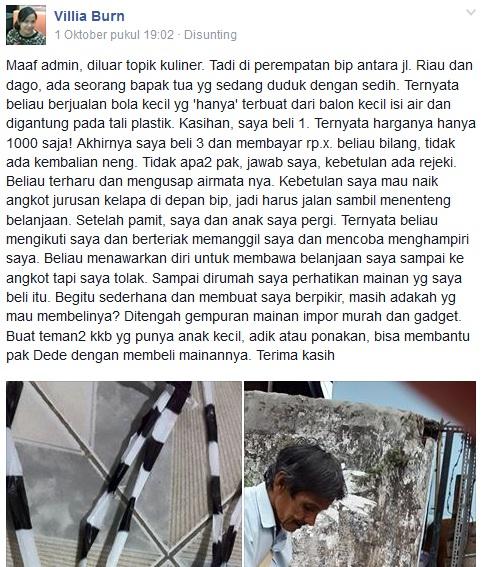 Kisah Pak Dede, penjual mainan sederhana di Bandung yang bikin haru
