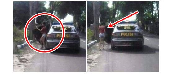 Foto mobil polisi turunkan gadis seksi di jalan sepi hebohkan netizen