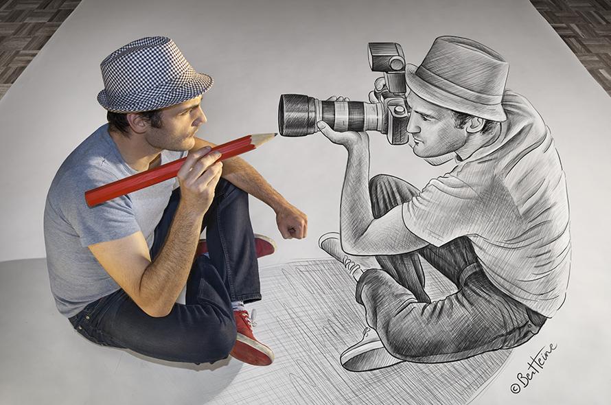 Pensil vs Kamera, 30 foto karya Ben Heine yang bikin kamu takjub