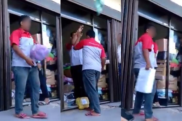 VIDEO: Kurir jasa pengiriman barang ini lempar paketan sesuka hatinya