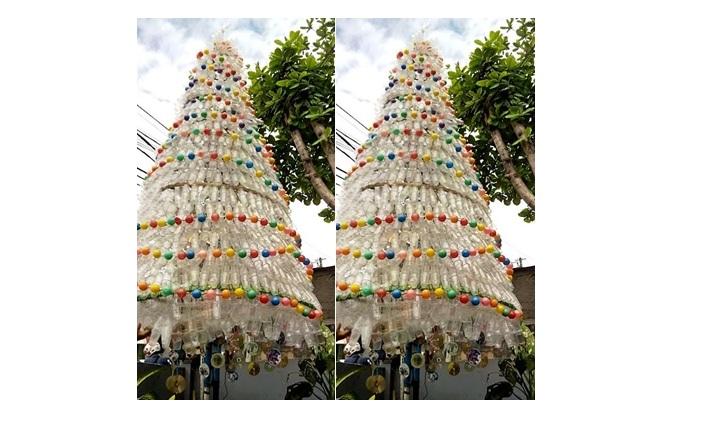 Pohon Natal megah ini terbuat dari limbah gelas plastik, wow keren!